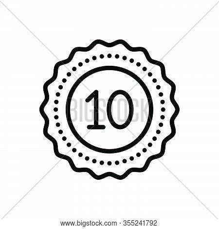 Black Line Icon For Decade Decennary Ten Dicker Badge