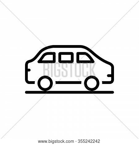 Black Line Icon For Car Roadster Wagon Conveyance Carriage Transportation Transit Automotive Vehicle