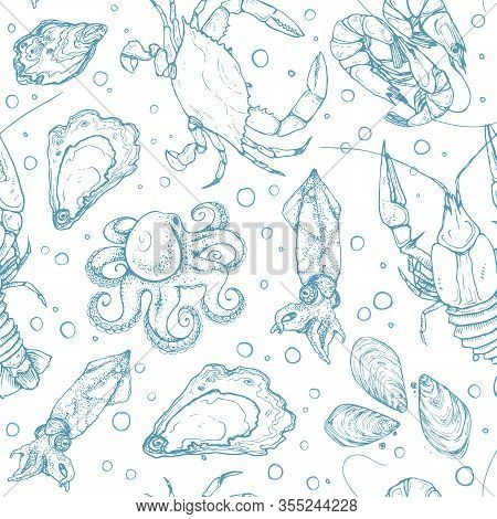 Hand Drawn Seafood Seamless Pattern. Seafood Sketches Tiled Background. Vector Illustration For Rest