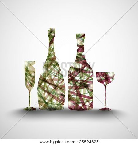 Background with abstract bottles and glasses