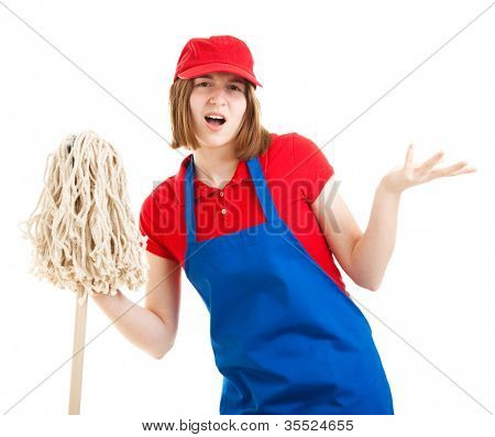 Teenage worker with a bad attitude, holding a mop.  Isolated on white.