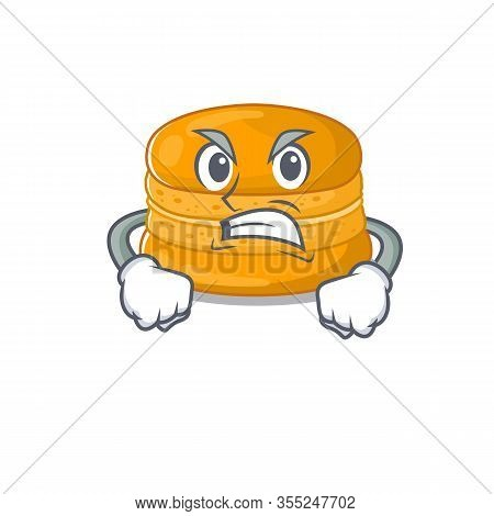 Orange Macaron Cartoon Character Design With Angry Face
