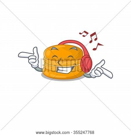 Enjoying Music Orange Macaron Cartoon Mascot Design