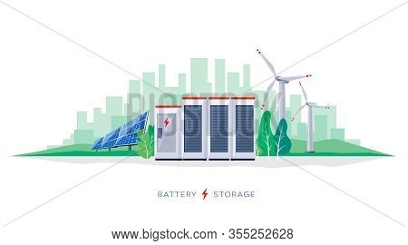 Vector Illustration Of Large Rechargeable Lithium-ion Battery Energy Storage Station And Renewable E