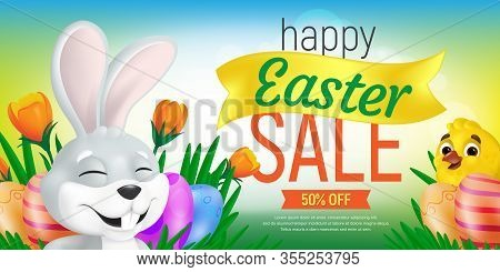 Happy Easter Sale Web Banner Or Flier Template. Vector Discount Coupon Illustration With Cute Bunny,