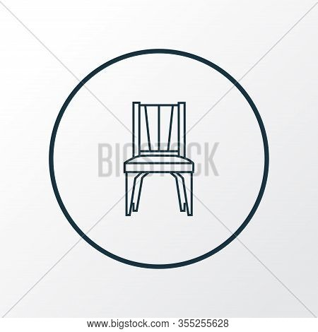 Dining Chair Icon Line Symbol. Premium Quality Isolated Seat Element In Trendy Style.