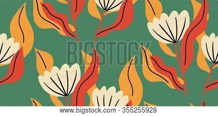 Seamless Pattern With A Flower In Vibrant Color. Floral Seamless Background For Fashion Prints. Can