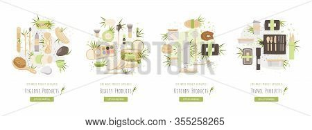 Zero Waste Ecology Product Category Vector Illustration - Travel Products, Beauty And Hygiene, Kitch