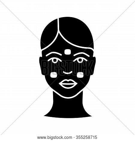 Anesthetic Cream For Neurotoxin Injection Glyph Icon. Facial Numbing Cream. Neuro Toxin Injection Pr