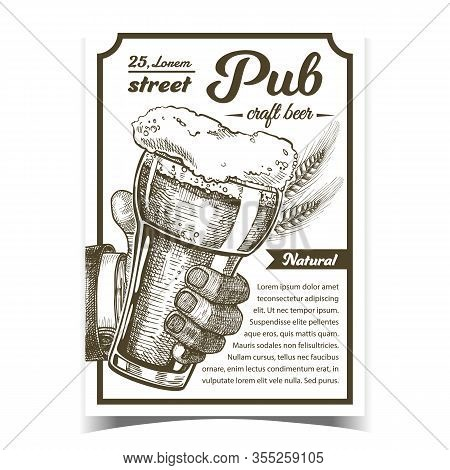 Pub Natural Craft Beer Advertising Poster Vector. Man Hand Holding Cup With Cold Foamy Alcoholic Dri
