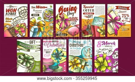 Gift Box Collection Advertising Posters Set Vector. Different Creative Advertise Banners With Presen