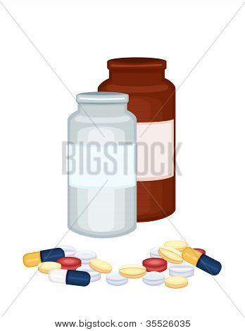 Prescription Medicine Bottles And Pills