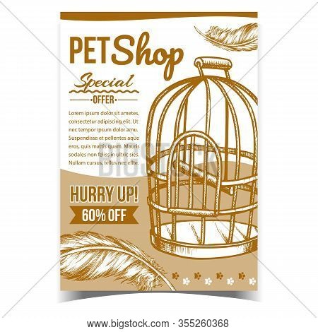 Pet Shop With Birdcage Advertising Poster Vector. Metallic Birdcage For Domestic Parrot And Bird Pen
