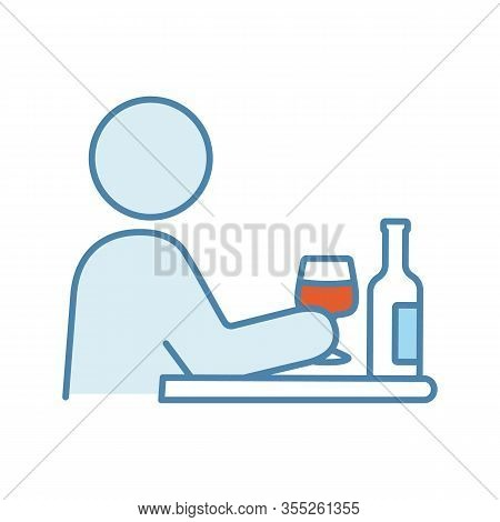 Bad Habits Color Icon. Alcoholism. Drinking Habit. Binge Drinking. Depression, Anxiety. Behavioral S