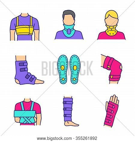 Trauma Treatment Color Icons Set. Rib Belt, Cervical Collar, Ankle And Knee Braces, Insoles, Shoulde