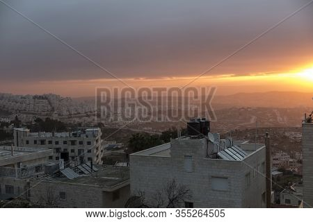 View Of Sunrise Over The New Part Of Bethlehem, Palestinian Authority