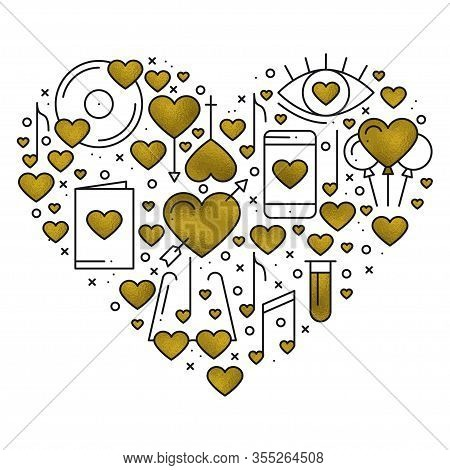 Heart Shape With Love Elements In Gold. Heart Vector Illustration. Love Couple, Relationship, Dating