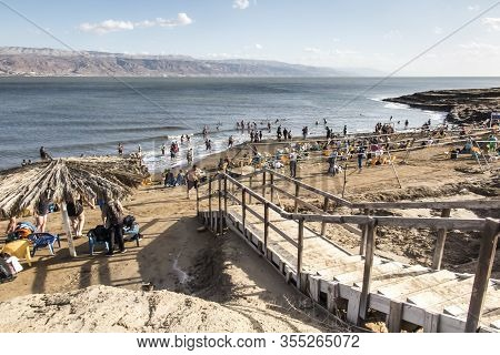 Dead Sea, Israel, January 31, 2020: Dead Sea Coast With Beach In Israel