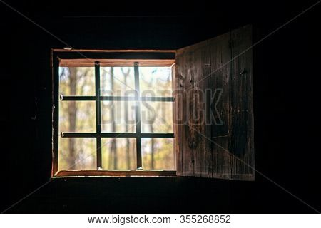 Old Window Behind Iron Bars, Daylight From The Window, Concept Of Hostage Bondage, Depression, Priso