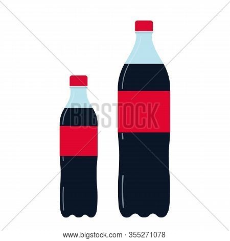Bottle Of Soda In Plastic Packaging. Symbol Fast Food Drink. Refreshing Carbonated Cola Drink. Vecto