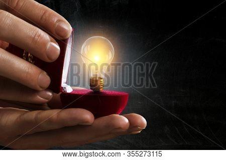 Light bulb inside gift box