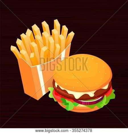 Isometric Vector Illustration On Dark Wood Background French Fries And Cola. Fast Food Concept