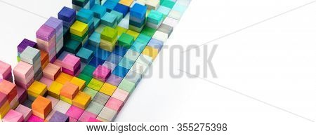 Spectrum of stacked multi-colored wooden blocks with white space in front. Background or cover for something creative, diverse, expanding,  rising or growing.  slanted view.