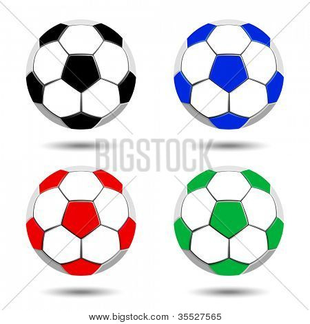 Collection of soccer balls isolated on white background.