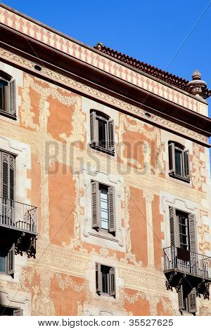 Barcelona city buildings facade in Sant Pere mes Alt street poster