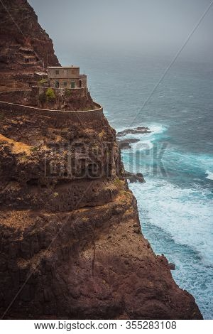 Santo Antao. Cape Verde. Stunning Scenery Of The Coastal Trail. Steep Black Cliffs Stretched Out Ahe