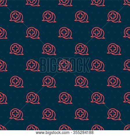 Red Line Dialogue With The Doctor Icon Isolated Seamless Pattern On Black Background. Doctor And Pat