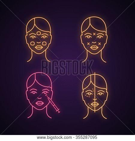 Neurotoxin Injection Neon Light Icon. Anesthetic Cream, Facial Markup, Crows Feets Injection, Facial