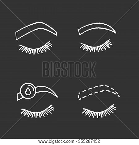 Eyebrows Shaping Chalk Icons Set. Steep Arched And Rounded Eyebrows, Makeup Removal, Brows Contourin