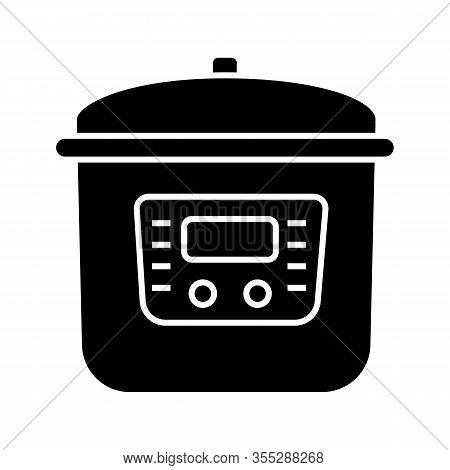 Multi Cooker Glyph Icon. Slow Cooker. Crock Pot. Pressure Multicooker. Kitchen Appliance. Silhouette