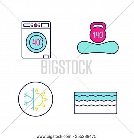 Orthopedic Mattress Color Icons Set. Machine Washable, Dual Season, Memory Foam Mattress, Weight Lim