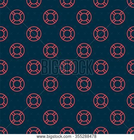 Red Line Lifebuoy Icon Isolated Seamless Pattern On Black Background. Life Saving Floating Lifebuoy