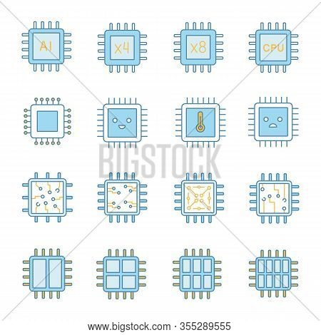 Processors Color Icons Set. Multi-core Processors. Chips, Microchips, Chipsets. Cpu. Central Process