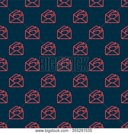 Red Line Outgoing Mail Icon Isolated Seamless Pattern On Black Background. Envelope Symbol. Outgoing