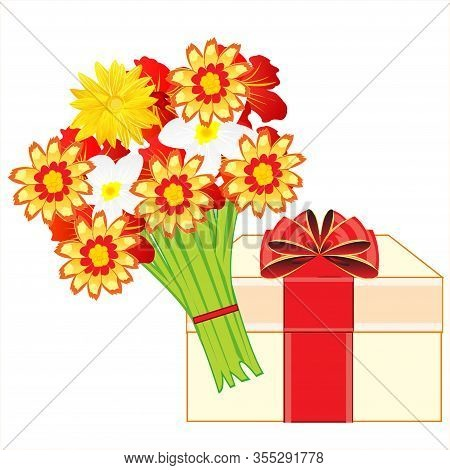 Box With Gift And Bouquet Beautiful Flower