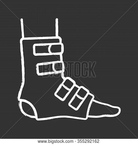 Foot Ankle Brace Chalk Icon. Foot Orthosis. Leg Brace. Adjustable Ankle Joint Bandage. Joint Pain Re
