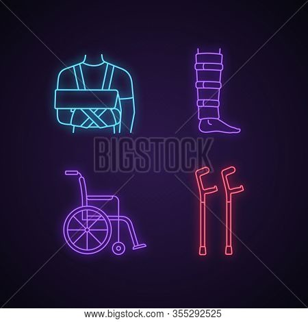 Trauma Treatment Neon Light Icons Set. Shoulder Immobilizer, Shin Brace, Wheelchair, Elbow Crutches.