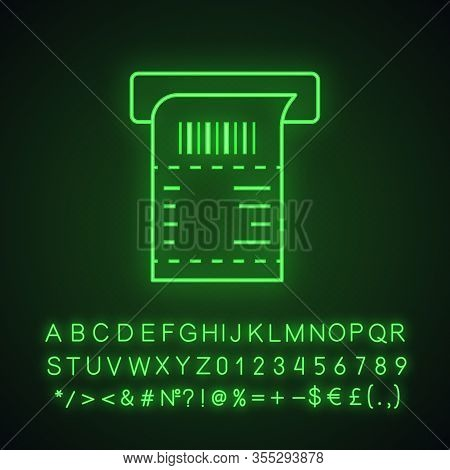 Atm Receipt Neon Light Icon. Payment Terminal Paper Check. Bill. Sales Receipt. Glowing Sign With Al