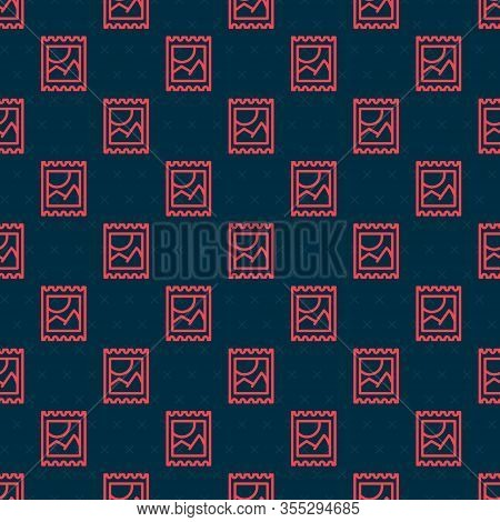 Red Line Lsd Acid Mark Icon Isolated Seamless Pattern On Black Background. Acid Narcotic. Postmark.