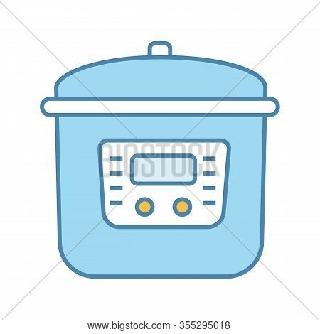 Multi Cooker Color Icon. Slow Cooker. Crock Pot. Pressure Multicooker. Kitchen Appliance. Isolated V