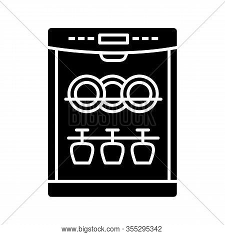 Dishwasher Glyph Icon. Silhouette Symbol. Automatic Dishware And Cutlery Cleaning. Kitchen Appliance