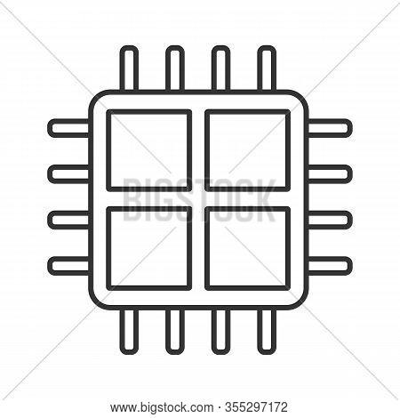 Quad Core Processor Linear Icon. Four Core Microprocessor. Thin Line Illustration. Microchip, Chipse