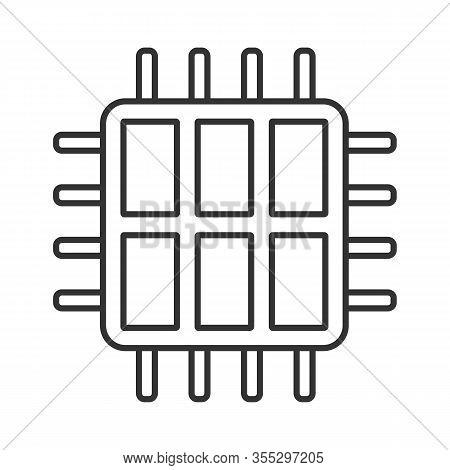 Six Core Processor Linear Icon. Hexa Microprocessor. Thin Line Illustration. Microchip, Chipset. Cpu