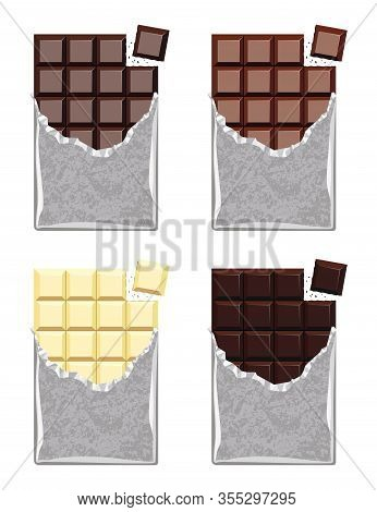 Vector Collection Of Opened Dark Chocolate, Milk Chocolate And White Chocolate Bars With A Piece Of