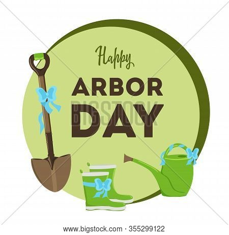 National Arbor Day. Vector Illustration With Leaves. Earth Day. Suitable For Greeting Card, Icon, Po