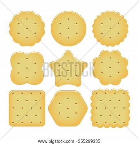 Vector Set Of Cracker Chips Isolated On White Background. Baked And Salted Cheese Cracker Chips Of D